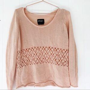 Nasty Gal blush sweater with macrame detail